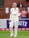 Sophie Ecclestone holds her arm after suffering an injury in the field, England v Australia, Women's Ashes Test, Taunton, 1st day, July 18, 2019