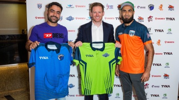 Rashid Khan, Eoin Morgan and Imran Tahir pose after the Euro T20 Slam draft