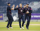 Graeme White celebrates a wicket, Durham v Northamptonshire, Vitality Blast, North Group, Chester-le-Street, July 19, 2019