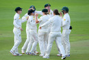 Nicole Bolton celebrates running out Georgia Elwiss with her team-mates, England v Australia, Women's Ashes, only Test, 3rd day, July 20, 2019