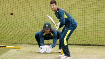 Tim Paine and Alex Carey in the nets
