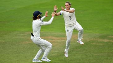 Laura Marsh celebrates a wicket