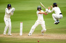 Amy Jones takes evasive action as Ellyse Perry drives, England v Australia, only Test, Women's Ashes, Day 4, July 21, 2019