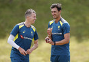 Mitchell Starc and Peter Siddle share a laugh, July 21, 2019