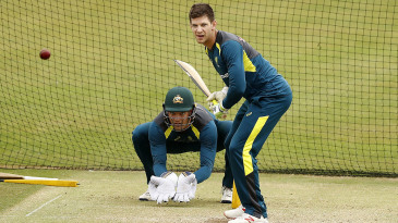 Tim Paine and Alex Carey train at The Ageas Bowl in Southampton