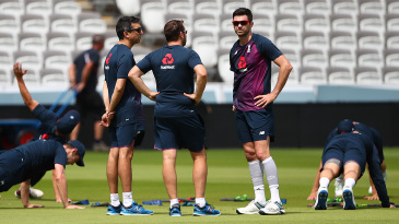 James Anderson takes part in England training
