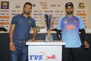 Dimuth Karunaratne and Tamim Iqbal pose with the trophy, Colombo
