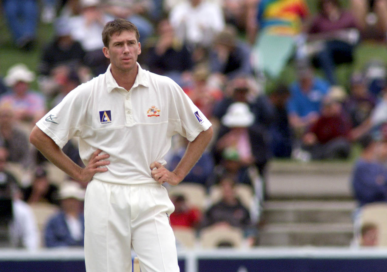 Glenn McGrath stands with hands on hips