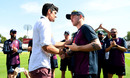 Jason Roy receives his Test cap from Sir Alastair Cook, England v Ireland, Only Test, Day 1, July 24, 2019