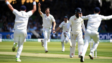 Tim Murtagh celebrates the wicket of Moeen Ali