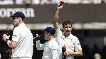 Tim Murtagh takes the applause for his five-wicket haul