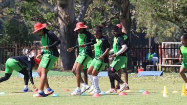 The Zimbabwe Women players go through training drills