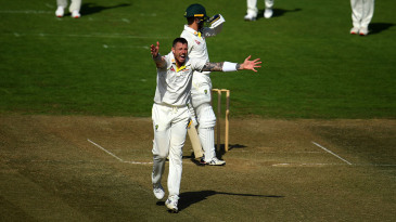 James Pattinson appeals successfully for the wicket of Alex Carey