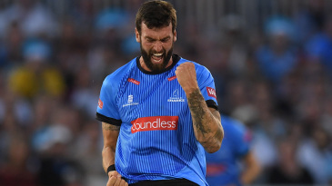 Reece Topley celebrates a breakthrough