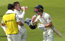 Jason Roy and Jack Leach take a drink during their century stand, England v Ireland, Only Test, 2nd day, July 25, 2019