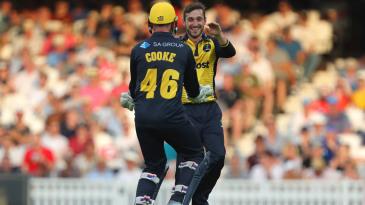 Andrew Salter celebrates a wicket