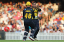 Andrew Salter celebrates a wicket, Surrey v Glamorgan, Vitality Blast, July 25, 2019