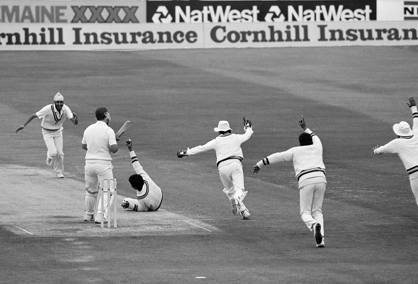 Mike Gatting survives an appeal for a catch off Maninder on day five of the 1986 Headingley Test, which India won. Maninder took four wickets in the final innings