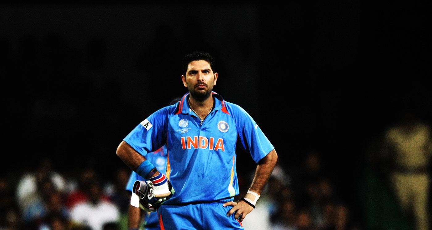 Yuvraj Singh looks on