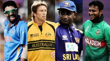 Composite: Yuvraj Singh, Glenn McGrath, Sanath Jayasuriya and Shakib Al Hasan
