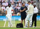 Mark Adair receives medical attention after being hit on the helmet, England v Ireland, only Test, Lord's, 3rd day, July 26, 2019