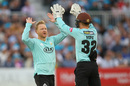 Gareth Batty gets a high five from Ollie Pope, Sussex v Surrey, Vitality Blast, South Group, Hove, July 26, 2019
