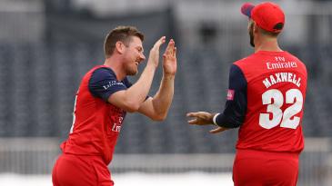 James Faulkner and Glenn Maxwell celebrate a wicket