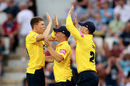 Henry Brookes celebrates a breakthrough with his team-mates, Northamptonshire v Birmingham, Vitality Blast, North Group, Wantage Road, July 26, 2019