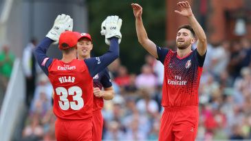 Richard Gleeson celebrates a wicket