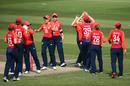 Katherine Brunt celebrates with her teammates after dismissing Alyssa Healy, England v Australia, 2nd T20I, Women's Ashes, July 28, 2019