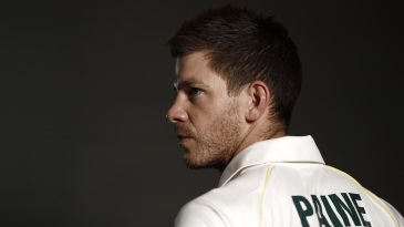 Tim Paine poses with his kit for the World Test Championship