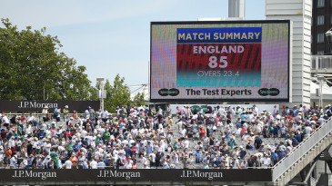 England lost all ten wickets for 85, and Ireland for 303, all in one day