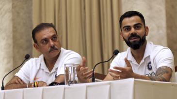 Ravi Shastri and Virat Kohli address a press conference ahead of India's departure to the West Indies