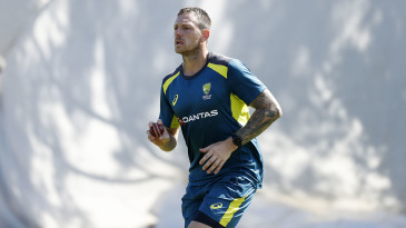 James Pattinson steams in during Australia's net session