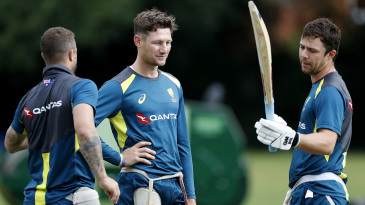 Matthew Wade, Cameron Bancroft and Travis Head at Australia training