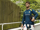 Mitchell Marsh in deep concentration on the way to the nets, Edgbaston, July 30, 2019