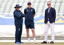 England coach Trevor Bayliss, captain Joe Root and ECB national selector, Ed Smith watch the side train on the eve of the Ashes, Edgbaston, July 31, 2019
