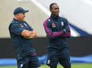 Jofra Archer chats to England's bowling coach Chris Silverwood in the nets, Edgbaston, July 31, 2019
