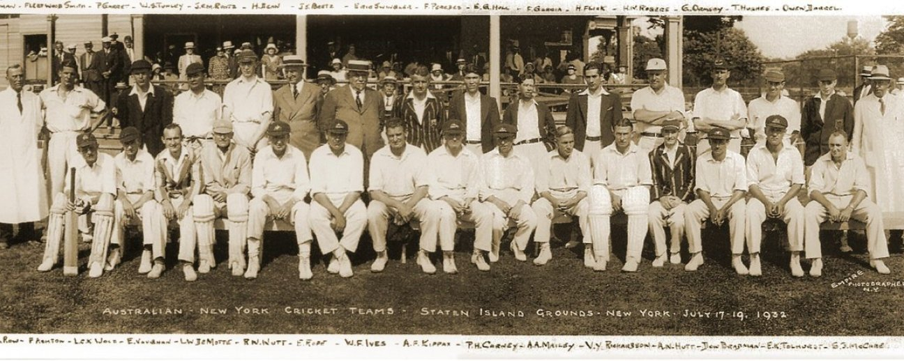 In July 1932, the SICC hosted a visiting Australian club team that included Don Bradman (seated, third from right). Bradman made 35 in the friendly match