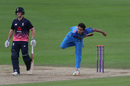 Rahul Chahar bowls as Liam Trevaskis backs up, England Under 19s v India U19s, second youth ODI, Canterbury, August 9, 2017