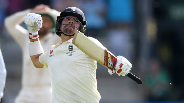 Rory Burns celebrates his maiden Test hundred