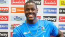 Carlos Brathwaite flashes a smile at a pre-match press conference, Lauderhill, August 2, 2019