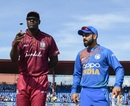 Carlos Brathwaite and Virat Kohli at the toss, West Indies v India, 1st T20I, Lauderhill, August 3, 2019