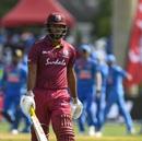John Campbell walks back, West Indies v India, 1st T20I, Lauderhill, August 3, 2019