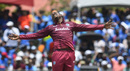 Sheldon Cottrell celebrates a wicket, West Indies v India, 1st T20I, Lauderhill, August 3, 2019