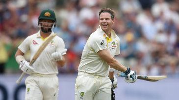Steven Smith brings up his second hundred of the match