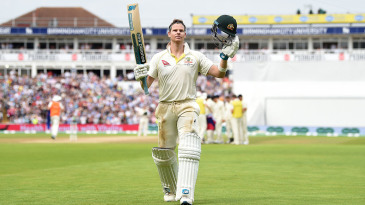 Steven Smith salutes the crowd after being dismissed by Chris Woakes