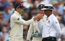 Joe Root holds up the ball for umpire Joel Wilson to smell as Jonny Bairstow looks on, England v Australia, 1st Test, Birmingham, 4th day, August 4, 2019