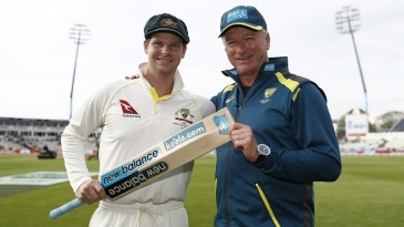 Steven Smith and Steve Waugh pose at stumps