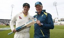 Steven Smith and Steve Waugh pose at stumps after Smith scored his second century for the Test, England v Australia, 1st Test, Birmingham, 4th day, August 4, 2019